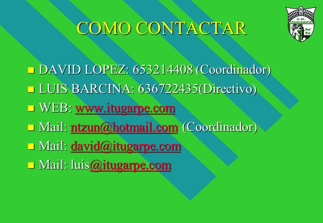 COMO CONTACTAR DAVID LOPEZ: 653214408 (Coordinador)