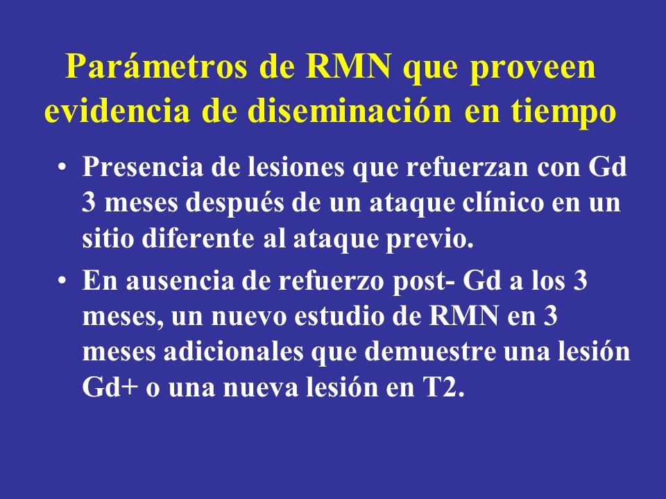 Parámetros de RMN que proveen evidencia de diseminación en tiempo