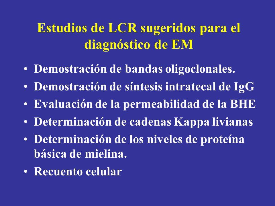 Estudios de LCR sugeridos para el diagnóstico de EM