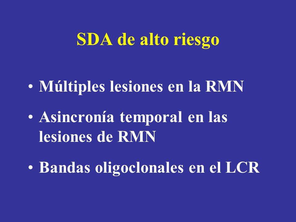 SDA de alto riesgo Múltiples lesiones en la RMN