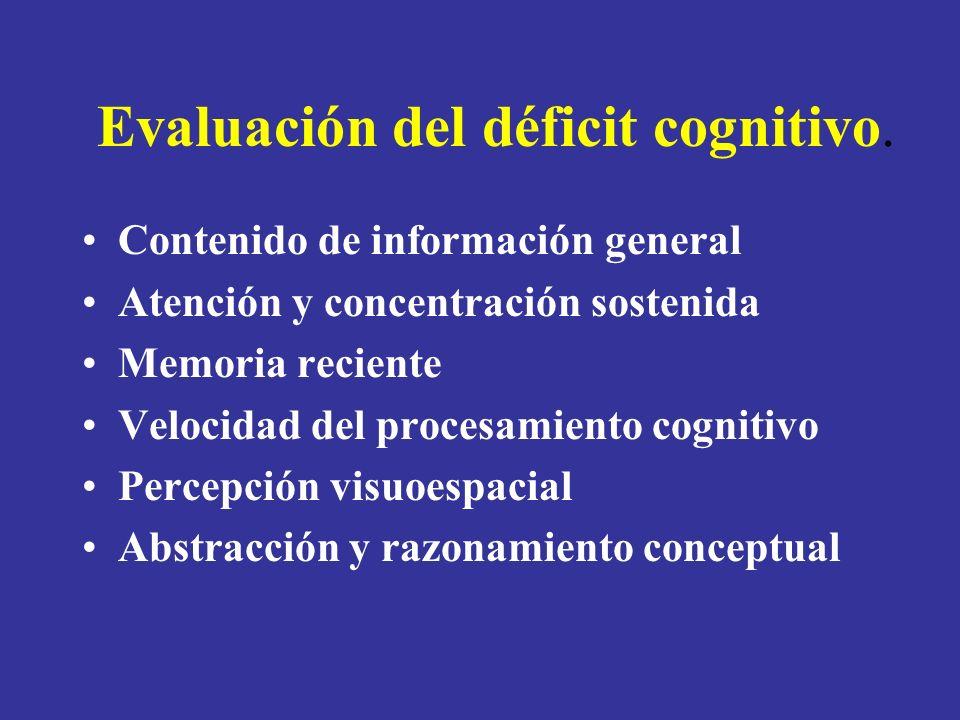 Evaluación del déficit cognitivo.