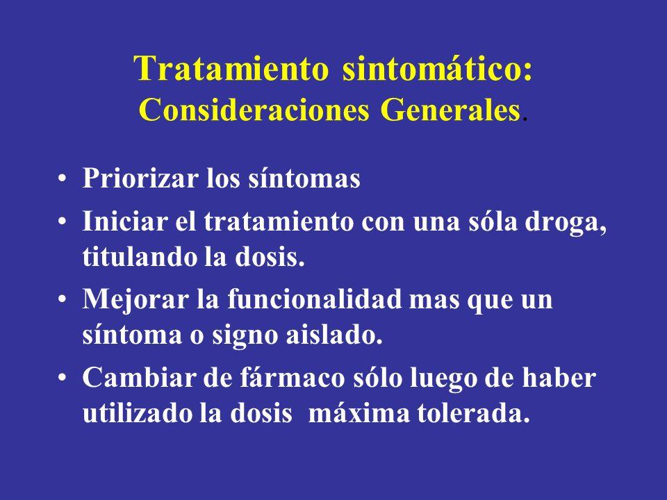 Tratamiento sintomático: Consideraciones Generales.