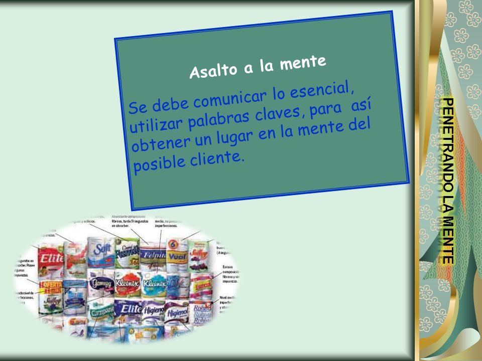 Asalto a la menteSe debe comunicar lo esencial, utilizar palabras claves, para así obtener un lugar en la mente del posible cliente.