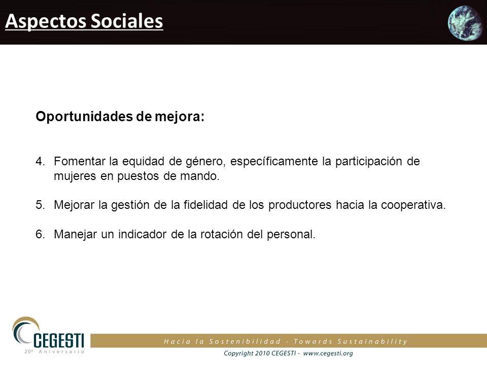 Aspectos Sociales Oportunidades de mejora: