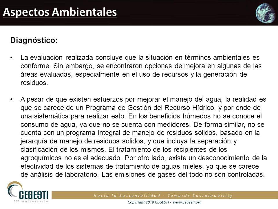 Aspectos Ambientales Diagnóstico: