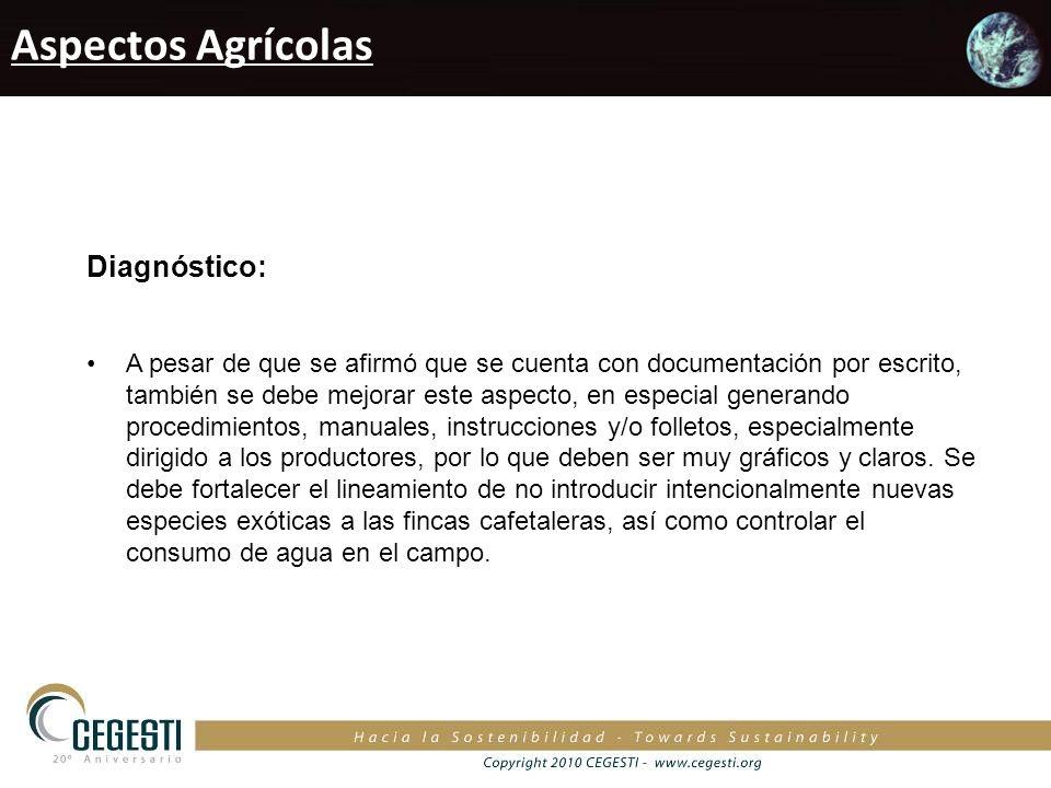 Aspectos Agrícolas Diagnóstico: