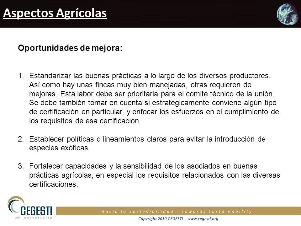 Aspectos Agrícolas Oportunidades de mejora: