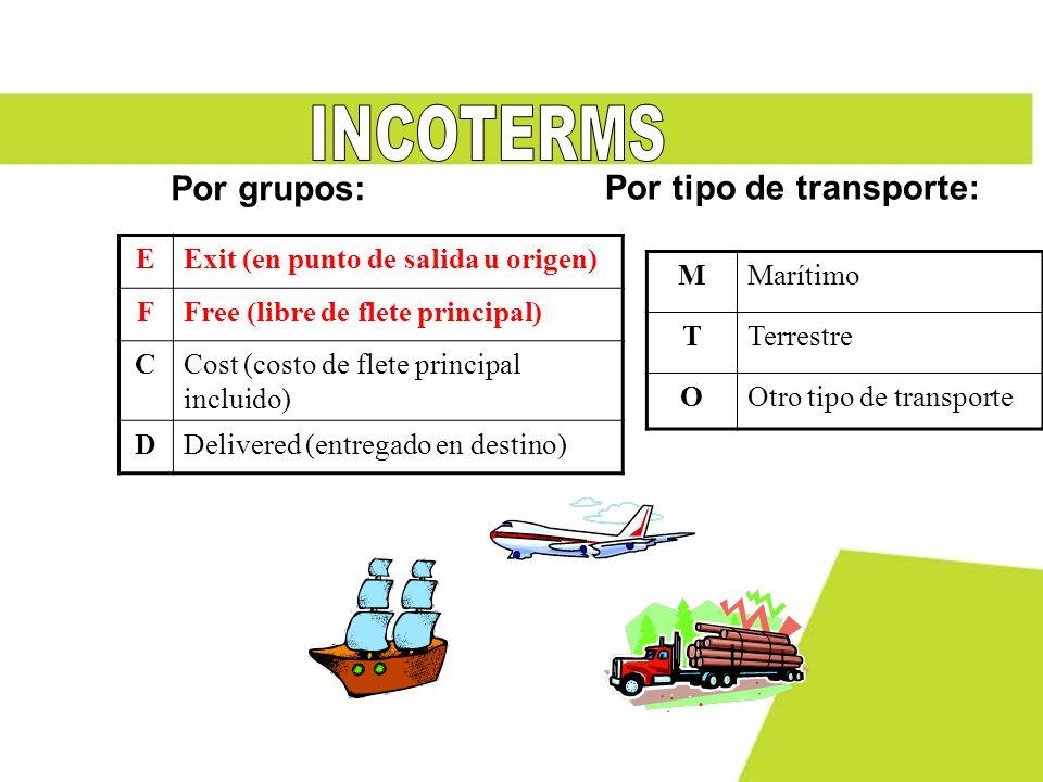 INCOTERMS Por grupos: Por tipo de transporte: E