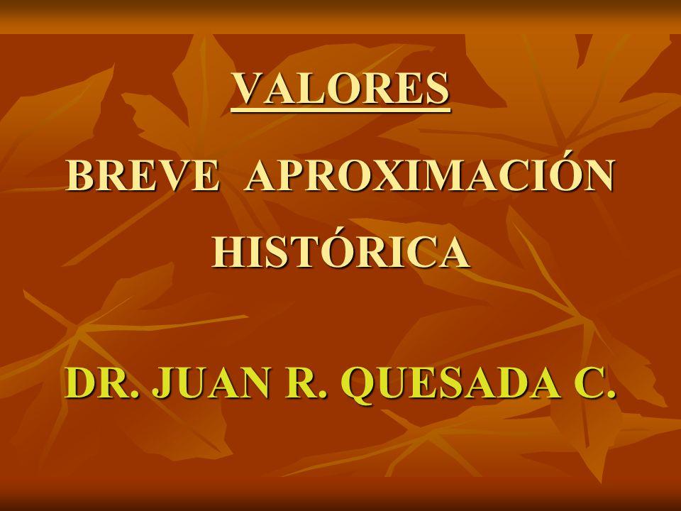 VALORES BREVE APROXIMACIÓN HISTÓRICA DR. JUAN R. QUESADA C.