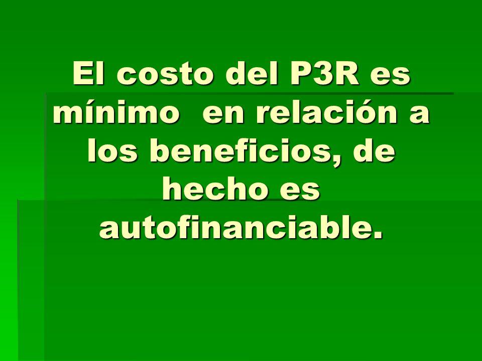 El costo del P3R es mínimo en relación a los beneficios, de hecho es autofinanciable.