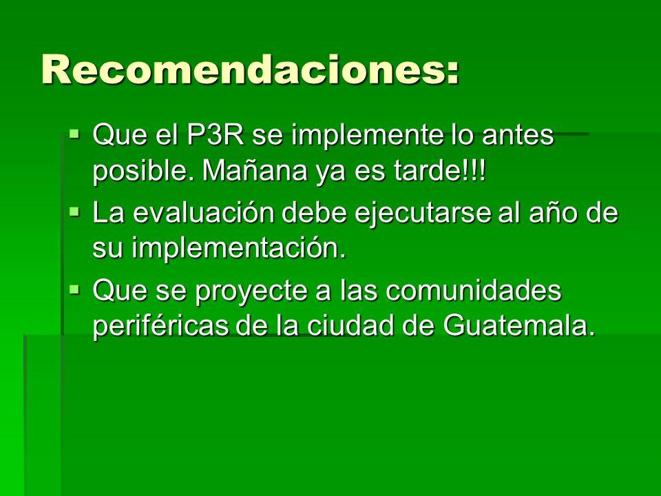Recomendaciones:Que el P3R se implemente lo antes posible. Mañana ya es tarde!!! La evaluación debe ejecutarse al año de su implementación.