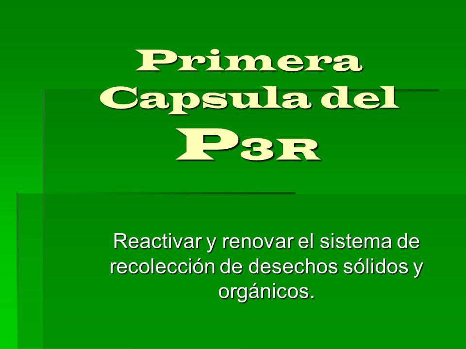 Primera Capsula del P3R Reactivar y renovar el sistema de recolección de desechos sólidos y orgánicos.