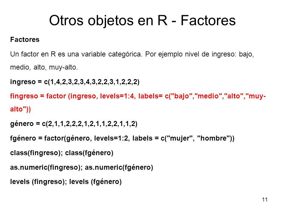 Otros objetos en R - Factores