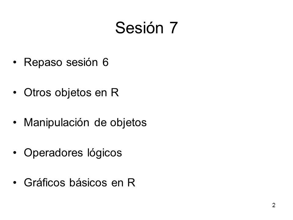 Sesión 7 Repaso sesión 6 Otros objetos en R Manipulación de objetos