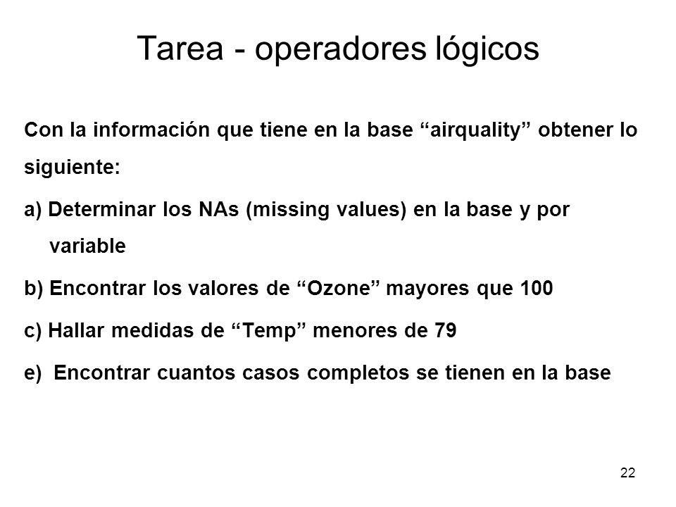Tarea - operadores lógicos