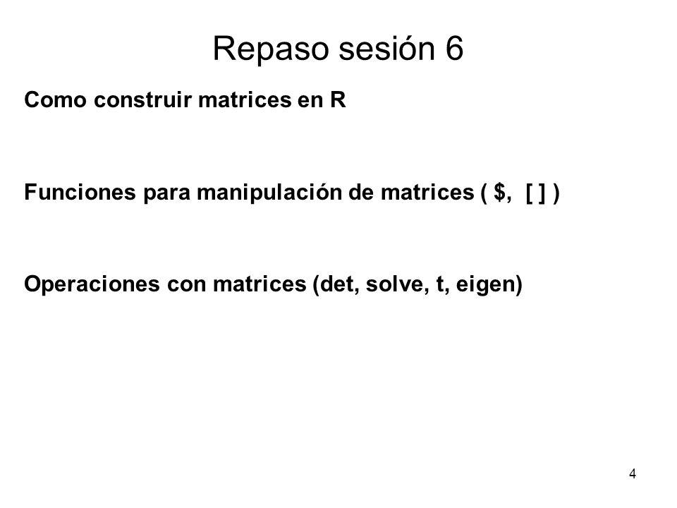 Repaso sesión 6 Como construir matrices en R