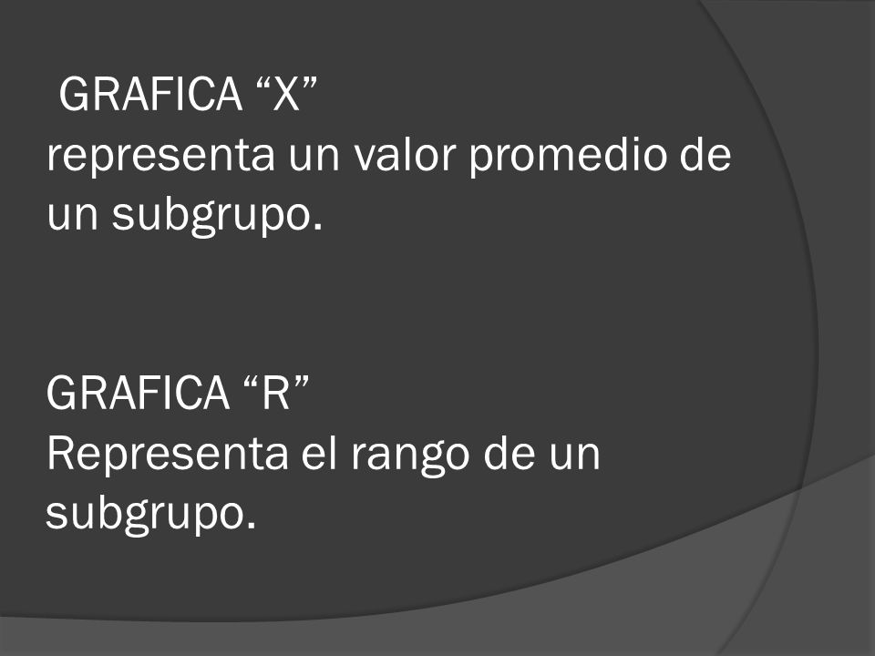 GRAFICA X representa un valor promedio de un subgrupo