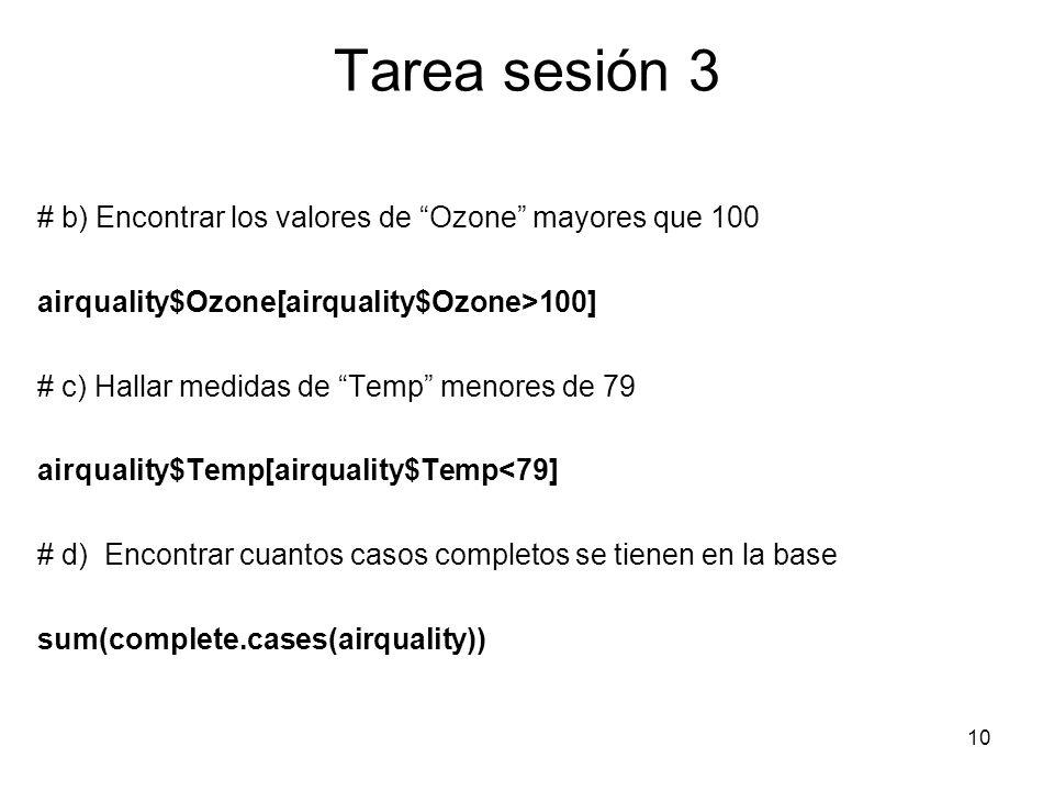 Tarea sesión 3 # b) Encontrar los valores de Ozone mayores que 100