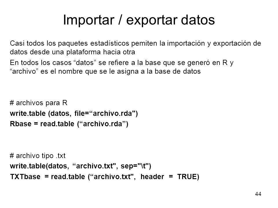 Importar / exportar datos