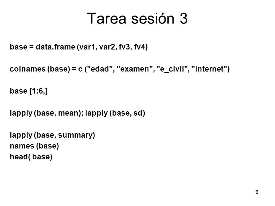 Tarea sesión 3 base = data.frame (var1, var2, fv3, fv4)
