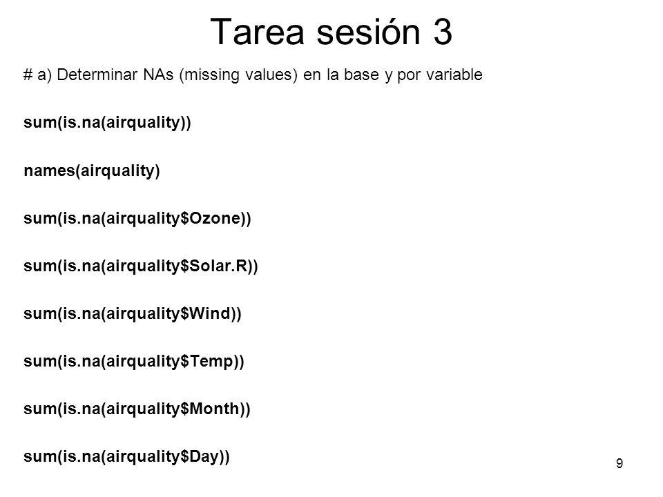 Tarea sesión 3# a) Determinar NAs (missing values) en la base y por variable. sum(is.na(airquality))