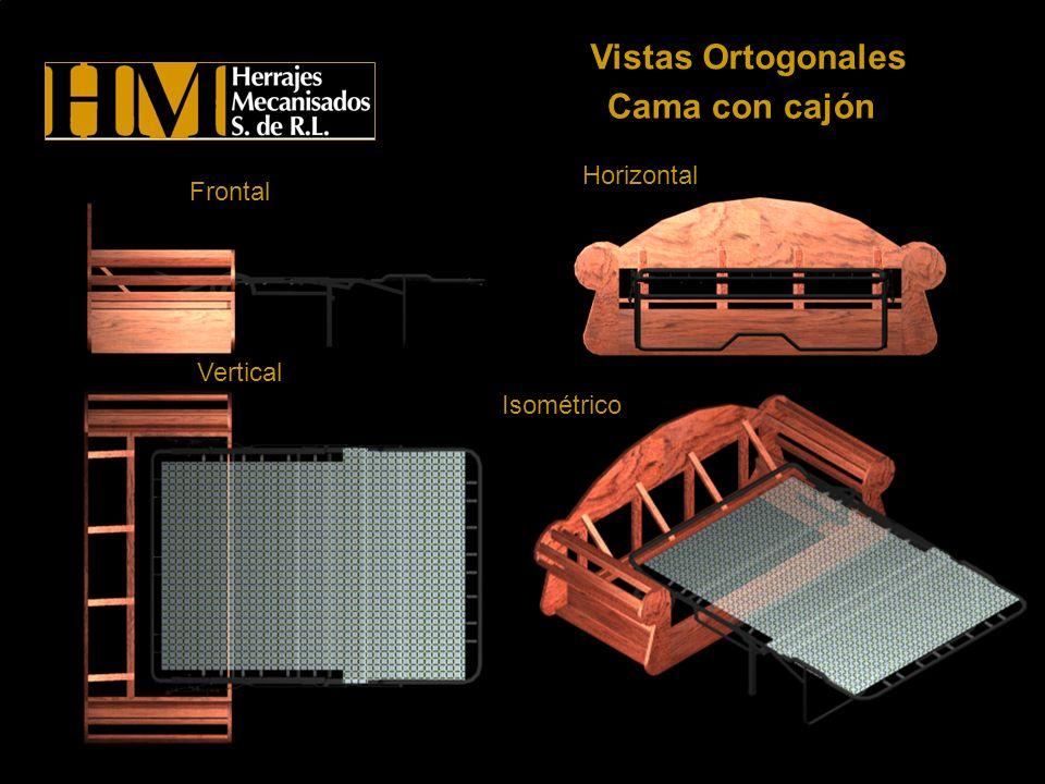 Vistas Ortogonales Cama con cajón Horizontal Frontal Vertical