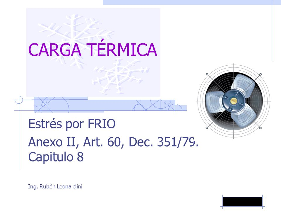 CARGA TÉRMICA Estrés por FRIO