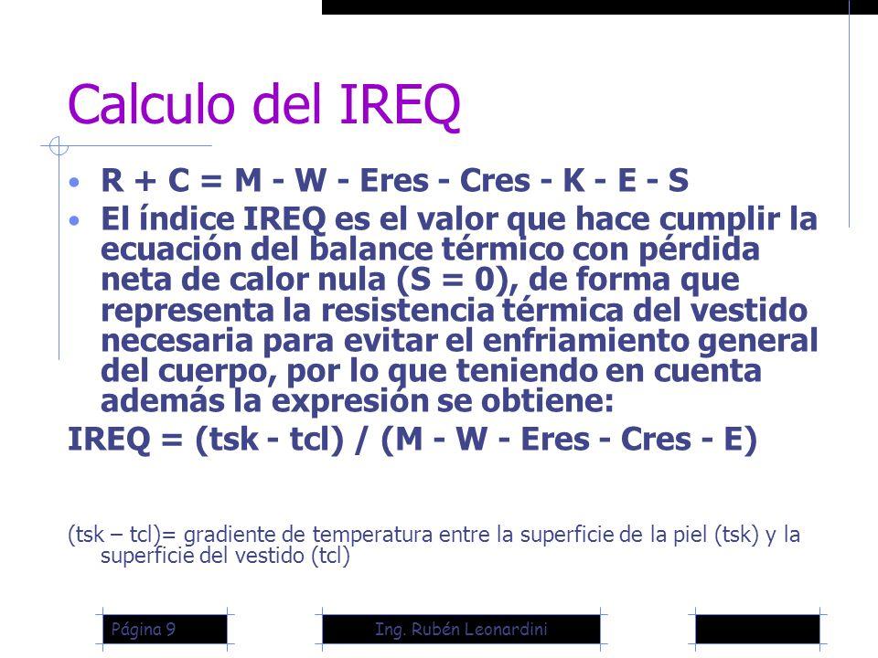 Calculo del IREQ R + C = M - W - Eres - Cres - K - E - S