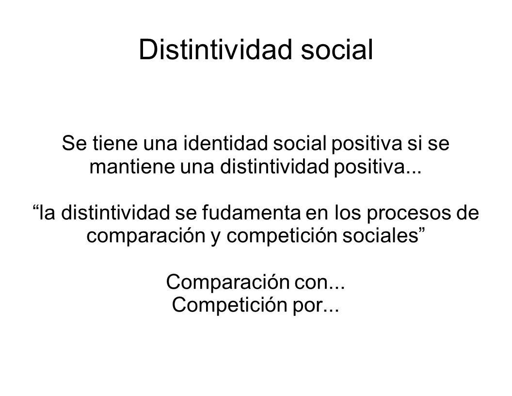 Distintividad social Se tiene una identidad social positiva si se mantiene una distintividad positiva...