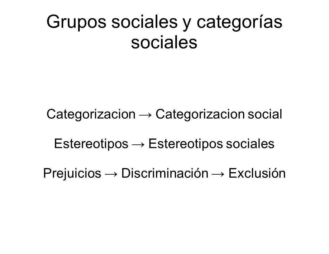 Grupos sociales y categorías sociales