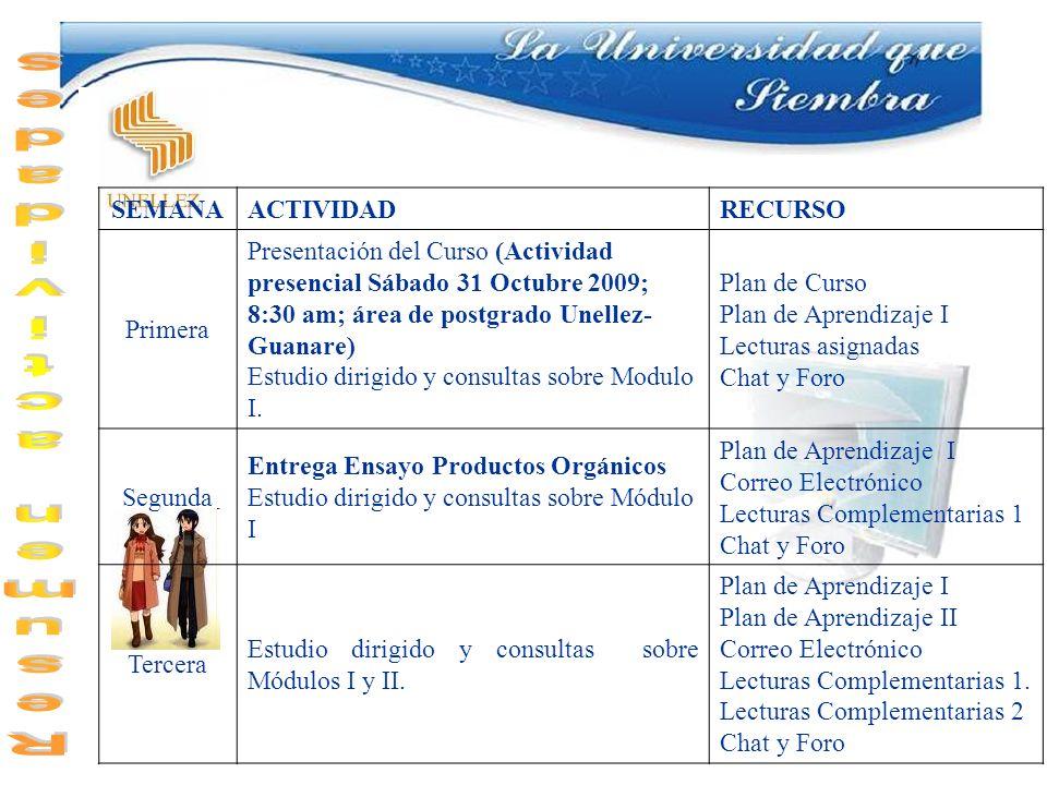 Resumen actividades SEMANA ACTIVIDAD RECURSO Primera