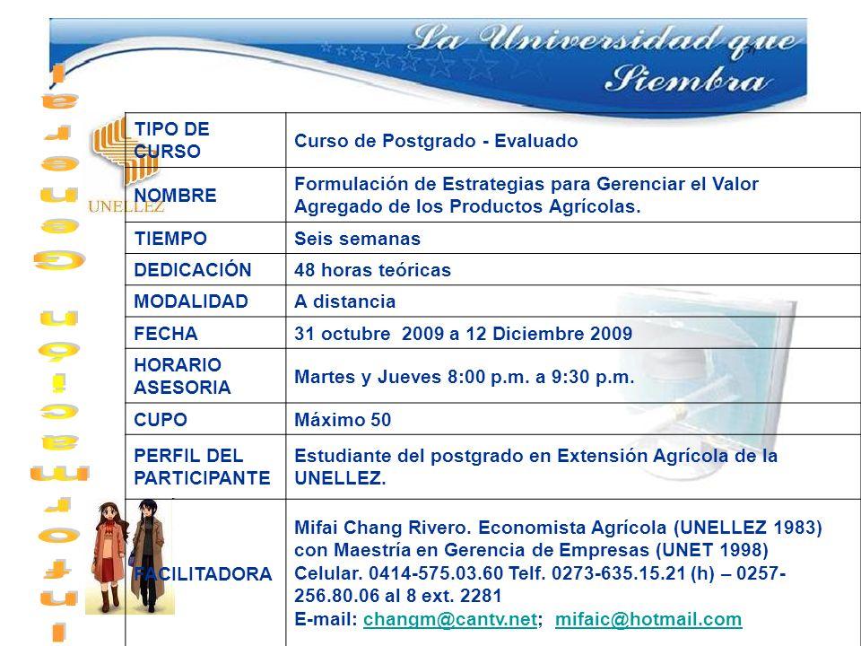 Información General TIPO DE CURSO Curso de Postgrado - Evaluado NOMBRE