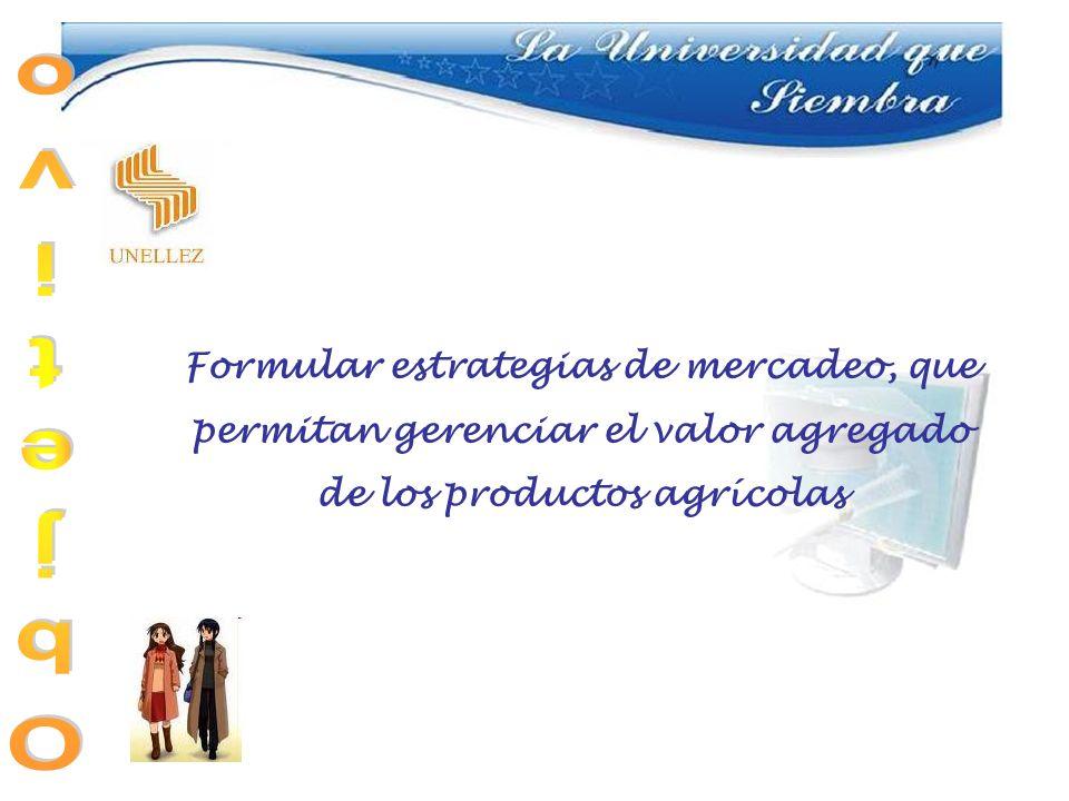 Formular estrategias de mercadeo, que permitan gerenciar el valor agregado de los productos agrícolas