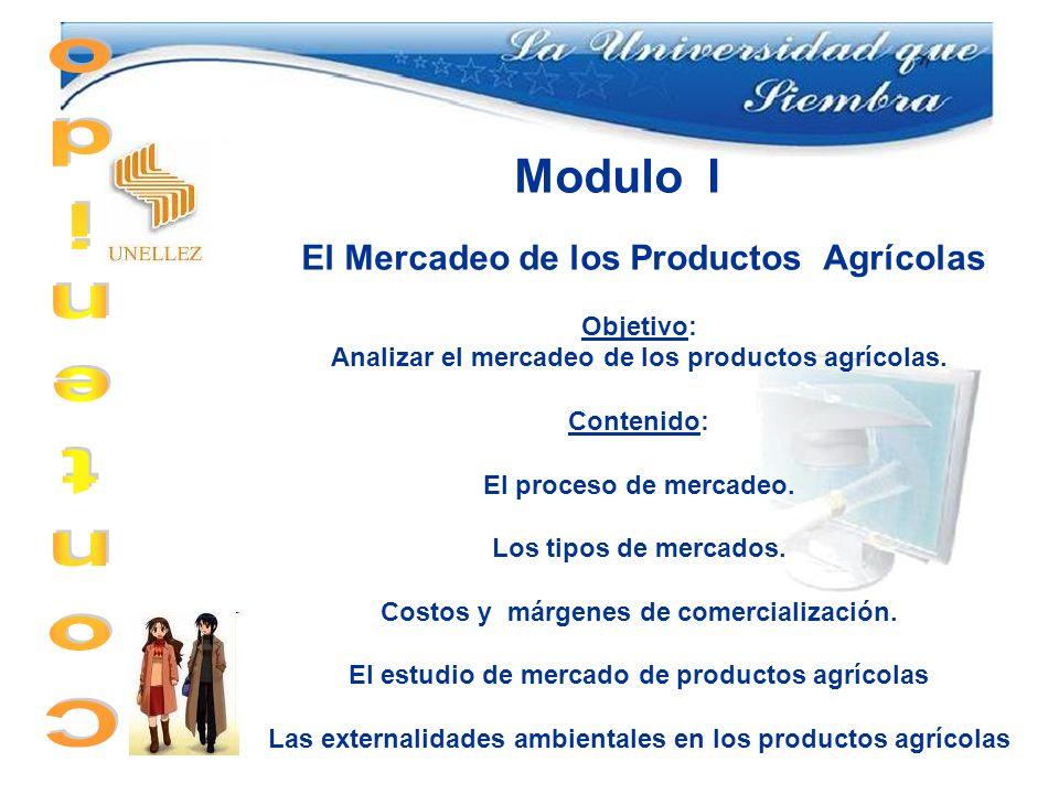 Contenido Modulo I El Mercadeo de los Productos Agrícolas Objetivo: