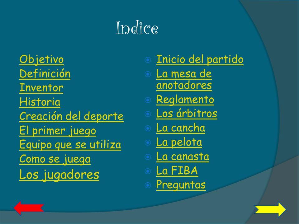Indice Los jugadores Objetivo Definición Inventor Historia