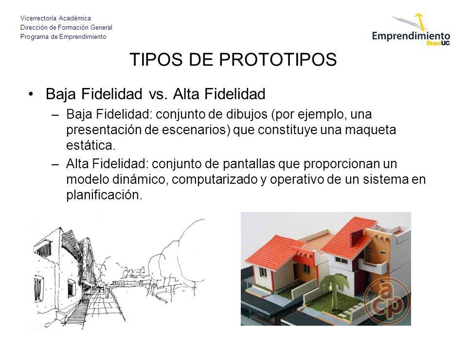 TIPOS DE PROTOTIPOS Baja Fidelidad vs. Alta Fidelidad