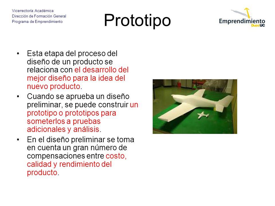 Prototipo Esta etapa del proceso del diseño de un producto se relaciona con el desarrollo del mejor diseño para la idea del nuevo producto.