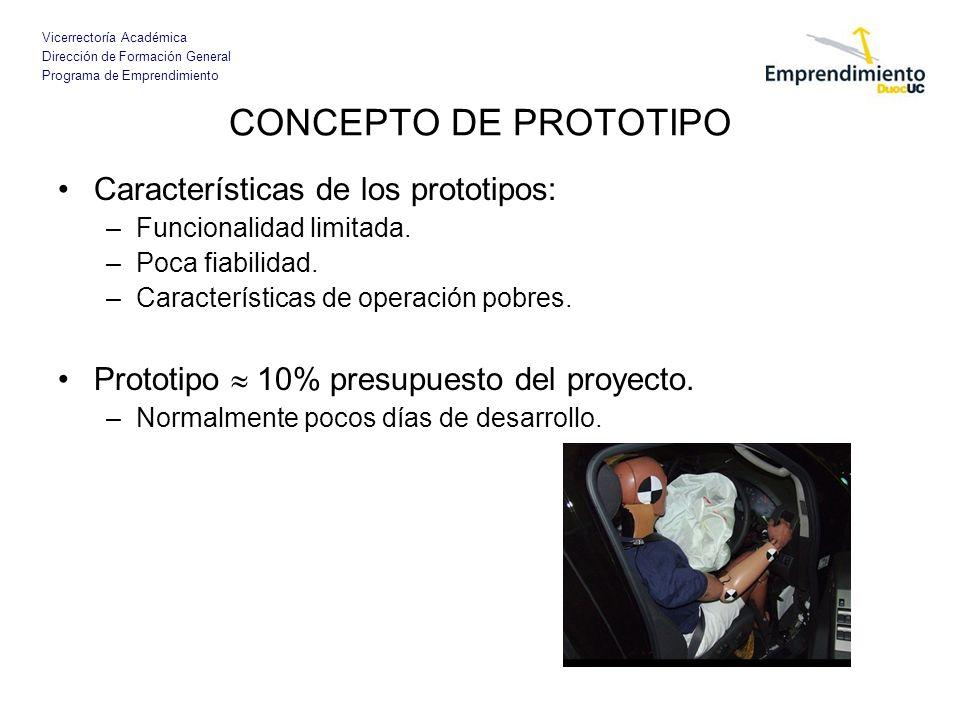 CONCEPTO DE PROTOTIPO Características de los prototipos: