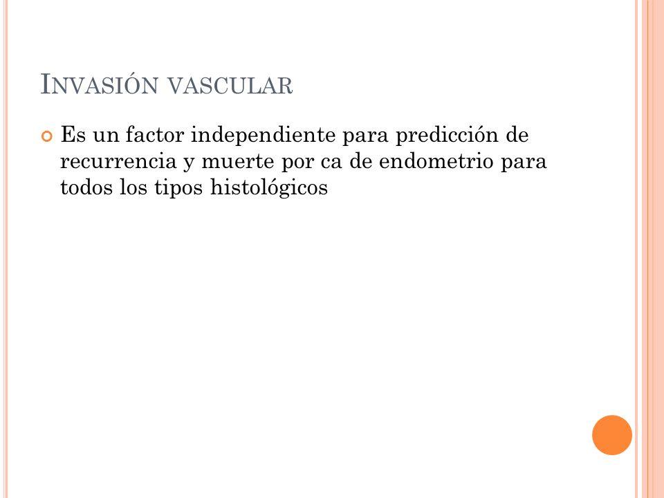 Invasión vascular Es un factor independiente para predicción de recurrencia y muerte por ca de endometrio para todos los tipos histológicos.