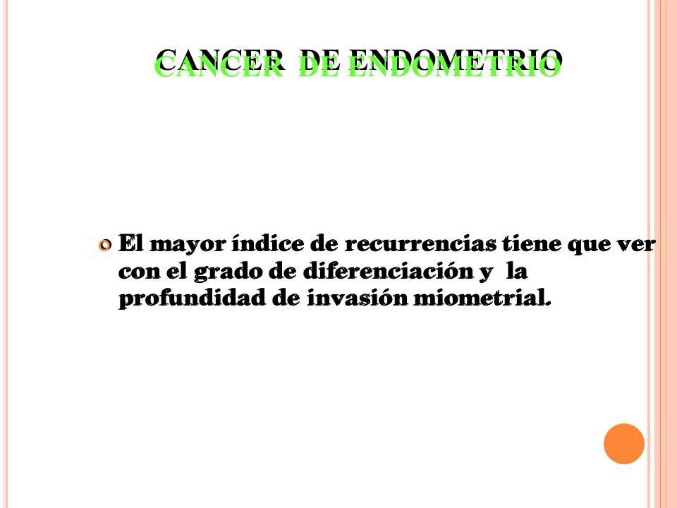 CANCER DE ENDOMETRIO El mayor índice de recurrencias tiene que ver con el grado de diferenciación y la profundidad de invasión miometrial.
