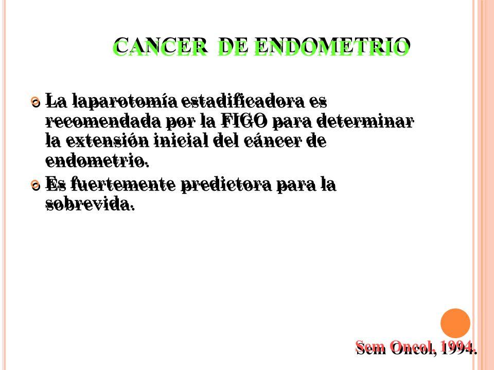 CANCER DE ENDOMETRIO La laparotomía estadificadora es recomendada por la FIGO para determinar la extensión inicial del cáncer de endometrio.