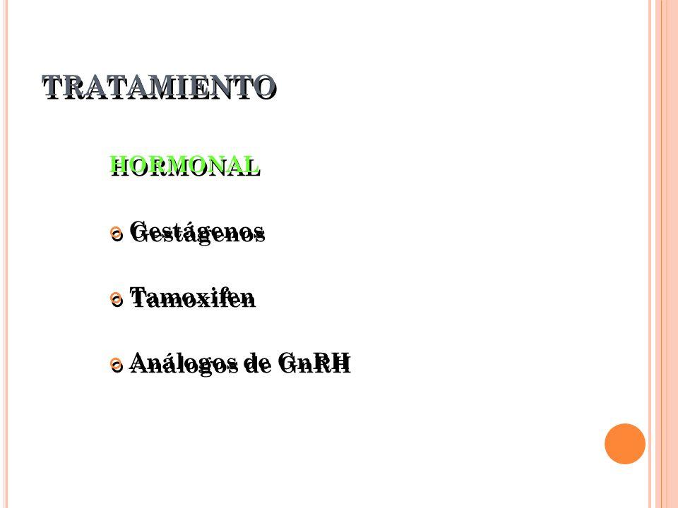 TRATAMIENTO HORMONAL Gestágenos Tamoxifen Análogos de GnRH