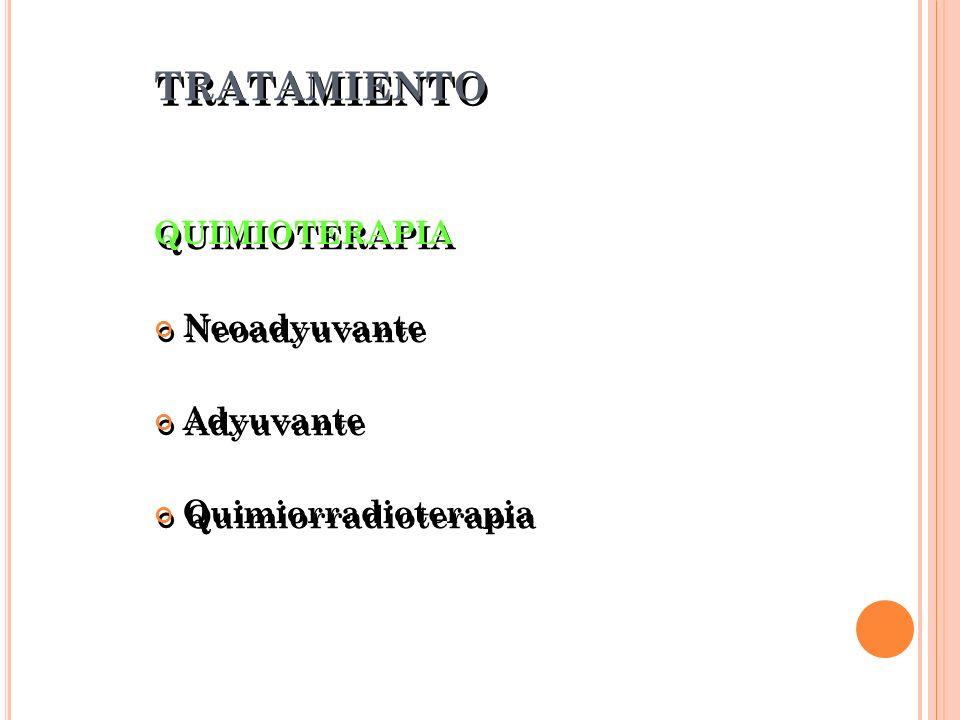 TRATAMIENTO QUIMIOTERAPIA Neoadyuvante Adyuvante Quimiorradioterapia