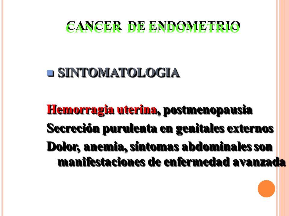CANCER DE ENDOMETRIO SINTOMATOLOGIA. Hemorragia uterina, postmenopausia. Secreción purulenta en genitales externos.