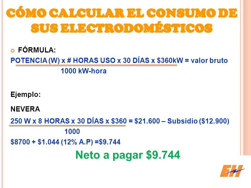 CÓMO CALCULAR EL CONSUMO DE SUS ELECTRODOMÉSTICOS