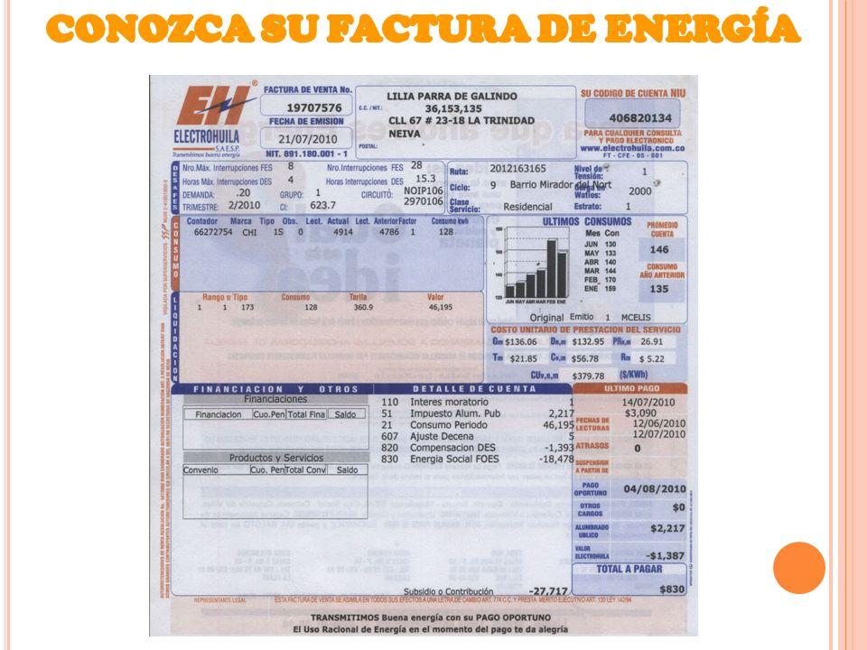 CONOZCA SU FACTURA DE ENERGÍA