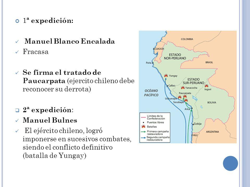 1ª expedición: Manuel Blanco Encalada. Fracasa. Se firma el tratado de Paucarpata (ejercito chileno debe reconocer su derrota)