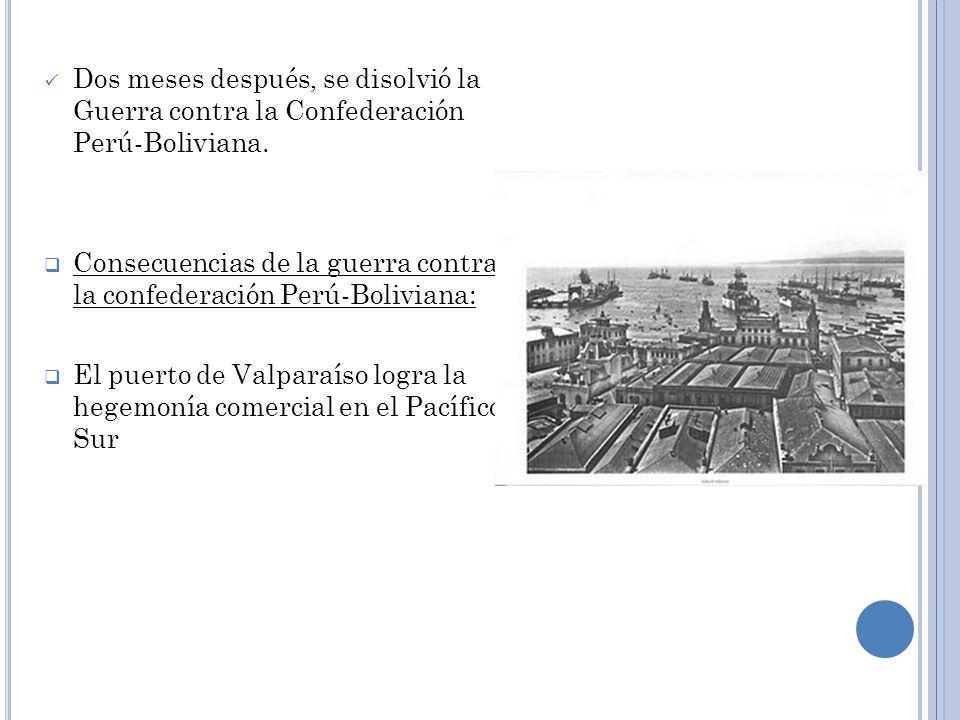 Dos meses después, se disolvió la Guerra contra la Confederación Perú-Boliviana.