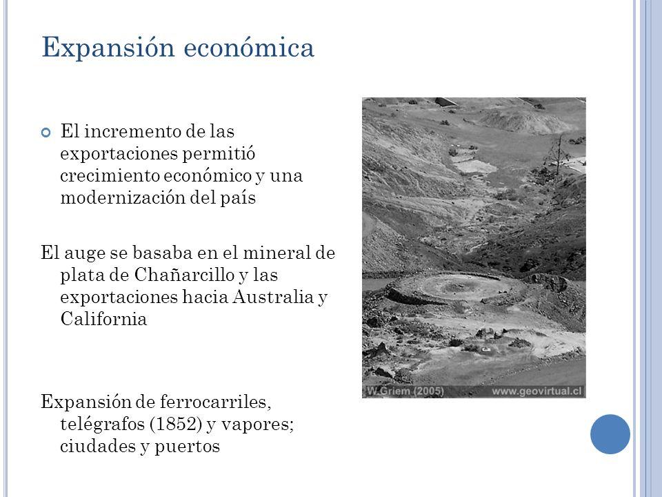 Expansión económica El incremento de las exportaciones permitió crecimiento económico y una modernización del país.