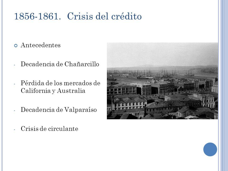 1856-1861. Crisis del crédito Antecedentes Decadencia de Chañarcillo